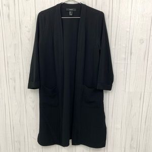 FOREVER 21 LONG OPEN CARDIGAN DUSTER BLACK LARGE